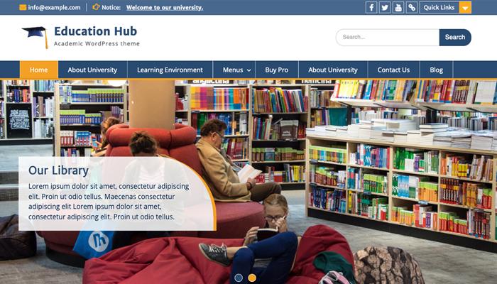 Giao diện WordPress cho website trường đại học - Education Hub